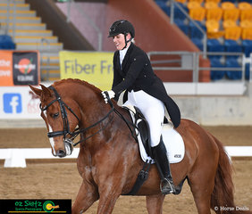 Big smiles and laughter after completing the Open Intermediate A class from Lauren Price and her horse who lives up to its name, True Superstar, at the 2019 QLD State Dressage Championships.