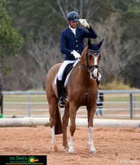 Great horse and rider combination, competing in the Open Preliminary class at the 2019 QLD State Dressage Championships, is Harvey Besley riding Fairbanks Belair.