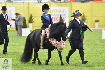 Alexandra Bowen, with Sandra Knox on the end of the lead rode the Knox-Morgan, Knox and Bowen nomination, 'Colvadale Heritage' to win the class for Shetland Pony Turnout In Saddle (Led) Riders 4-7 Years.