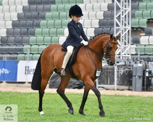 Sienna Wright had a successful time on the first day of the 2019 Royal Melbourne Show. She rode the Mullan Family's, 'Rhyl Finale' to win the class for Pony Turnout 12.2hh and Under, Riders 7-9 Years.