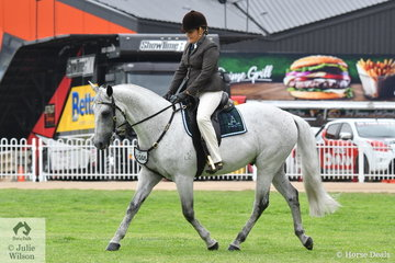Chantelle Vella rode her well performed, 'Cunnoo Destiny's Blueprint' (Acres Destiny/Comminyal Rembernce) to win the class for Australian Stock Horse Hack Stallion.
