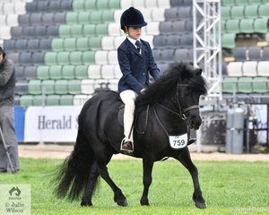 Starting her long journey towards the famous Garryowen Turnout class, Anna Elliott is pictured aboard Helen Heinrich's, Jobar Charlie' during the Shetland Turnout class for Riders 8-10 Years.
