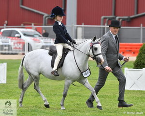 With David Warde on the end of the lead, Sophie McCarroll rode Donna McCarroll's, Kerulen Cossette' to fourth place in the class for Leading Rein Pony 12hh and Under.