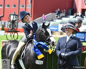 Here we go again. Alexandra Bowen is delighted to take out the Leading Rein Show Hunter Pony class with the Knox- Morgan, Knox and Bowen nomination, 'Palmerston Rosie'. Sandra Knox looks pretty pleased on the end of the lead too.