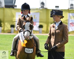 Zara Webster stepped aboard Ebonie Lee's, 'Arcadian Dreamboat' and with Brynie Lee on the end of the lead, they claimed third place in the class for Leading Rein Show Hunter Pony.