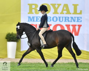 Alexandra Bowen had a super day and won the class for Rider  6-8 riding ,'Baringdale Silhouette'..