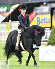 Lilly Foorde rode  Emma Pickstock's, 'Dunavon James The First' to take third place in the  class for Shetland Pony 10-10.2hh.