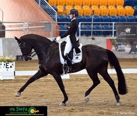 Very evident is the beautiful partnership between Danielle Keogh and Welfadon, competing on day 3 of the QLD State Dressage Championships in the Open Intermediate I class.