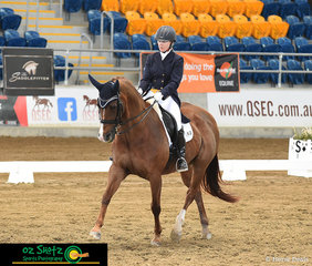 The final combination in the Open Intermediate 1 was Georgia Calvert and QEB Swing On a Star on the last day of the 2019 QLD State Dressage Championships..