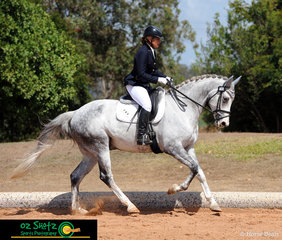Competing in the Open Elementary 3B test is Samantha-Jane Winton and Fromelles, on the third and final day of the 2019 QLD State Dressage Championships held at the Queensland State Equestrian Centre.
