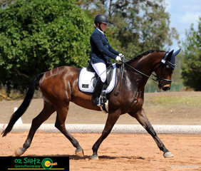 Effortlessly stepping across the arena in their Open Elementary 3B test on the last day of the QLD State Dressage Championships is Tianna Smith and Windhill Wisdom.