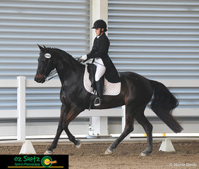 Looking very smart in the Open Advanced 5B test is Carissa Airey and Faith, competing on the final day of the 2019 QLD State Dressage Championships.