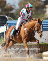 """Winner in the Grade 1, Carly Heislers representing Wonthaggi Pony Club riding """"Ma Di Tau"""" finishing on her dressage score with no showjumping or cross country penalties."""