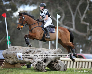 """Winners of the Grade 2 Section 2, Ella Whitaker from Merricks Pony Club riding """"Rising Spring"""" finishing on her dressage score of 54"""