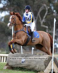 "Winner of the Grade 3 Section 3 Charlize Thomson representing Mansfield Pony Club riding ""JenJan Zanthea"""