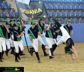 Team Tasmania entered with enthusiasm and a wave of cartwheels at the opening ceremony.