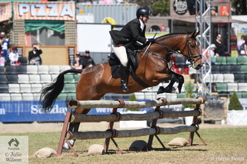 Representing the Hume Hunt Club, Hayley Graham is pictured aboard her, 'Just Annabelle's Way' during the Noel Mason Memorial Hunters' Plate.