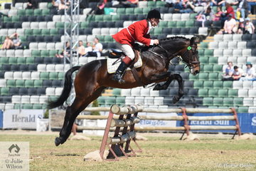 Stephen Valentine representing the Oaklands Hunt Club is pictured abaord Peter Powles' stallion, 'Northern Fasolt' during the Noel Mason Memorial Hunters' Plate.