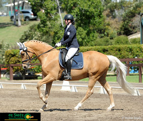 Competing at Interschool Nationals, held at the Sydney International Equestrian Centre, is Lily Cowburn and Merool Top Boots in their Secondary Elementary Dressage test..
