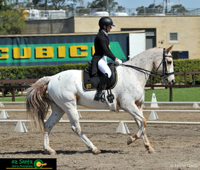 Cantering across the arena in the Secondary Advanced 5C Dressage Test was Ashleigh Middendorp travelling across Australia from Western Australia to compete her horse Cayuse Global Warri at the 2019 Interschool Nationals