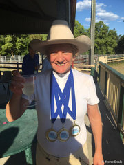 Tanya Stuart Gold in the Australian Stock Horse Prelim and  Novice celebrating s with a glass of bubbles