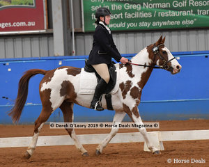 "Catherine Viney from South Australia rode ""Gem"" in the Novice Canter Open & Advanced, placing 3rd with a score of 62.981%"