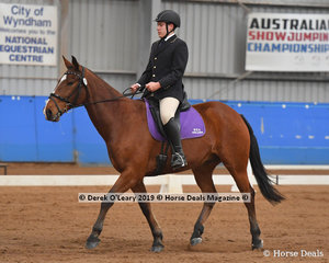 """Joshua Wings rode """"Zorro"""" in the Trot Assist & Intermediate Class placing 5th with a score of 69.737%"""