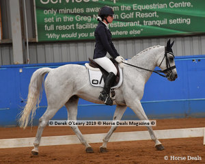 "Maddie Cooke from Victoria rode ""Gladiators Ghost"" to win the Trot Open & Advanced with a score of 72.500%"