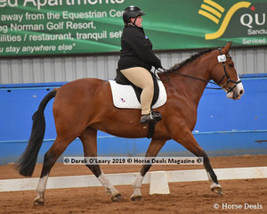 """Ashlee McBain from Tasmania rode """"Milly"""" in the Trot Open & Advanced placing second 69.048%"""