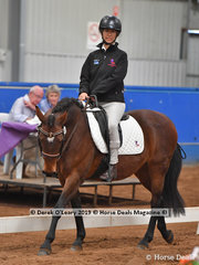 "Laura Della Pasqua from Tasmania rode ""Nutmeg"" in the Walk Independent Class placing 2nd with a score of 69.167%"