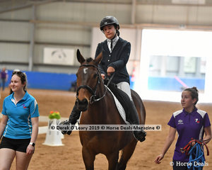 """Renee Paarman from Victoria gets ready to enter the arena in the Walk Independent Class riding """"Laddie"""""""