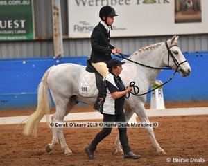 "Ben Jeffrey from Queensland rode ""Mr Snowman"" in the Walk Led Class to win with a score of 66.50%"