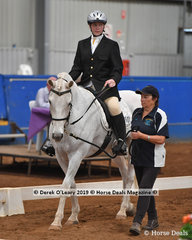 "Ally Smith from Queensland rode ""Mr Snowman"" in the Walk Led placing 2nd with a score of 66.334%"