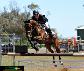 Going over the oxer on the first day of the Toowoomba ODE was Trudy Freeman riding Fifth Element in the One Star Show Jumping.