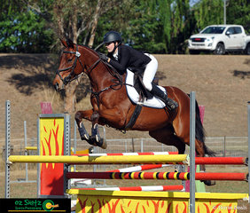 Clearing jump 10A in the Show Jumping phase of the CCI Three Star competition was  Amilia Schooley riding Grande Exito.