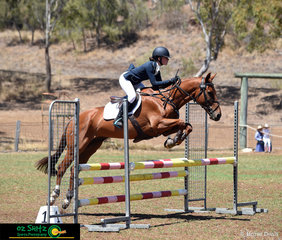 Mount Baron  has no problem in the Show Jumping phase for rider Bridgette Dalmau in the EvA95 competition at the Toowoomba ODE. .