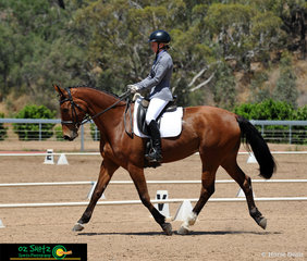 Showing nice elevation in the EvA80 dressage test was Jaybee Alfresco and rider April Wain.