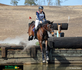 Leaping into the water is 'Jurara Keanu' ridden by Jo-anne Williams in the cross country phase of the CCN1* at the Toowoomba ODE.