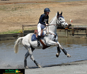 Taking a mighty stride out of the water complex was Mistermighty and rider Madeleine Ryder in the EvA80 Cross Country phase.