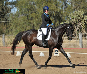 Bet On Black showing lovely extension in the EvA95 dressage test with Victoria Hawthorne in the saddle.
