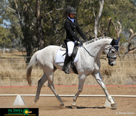 Nicely balanced in the EvA95 dressage was Uma Vanderwaal riding Luck From Above.