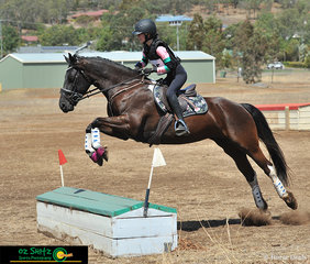 Confidently clearing the second element in the Farmyard in the EvA60cm was Mystic Shadows Wildfire with rider Alexis Gascoyne on the second day of the Toowoomba ODE.