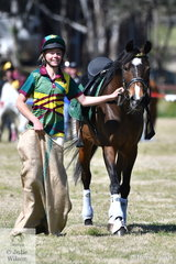 There was lots of fun had by the riders in Round 1 of the Mounted Games. This combination from Tasmania, seem to be enjoying the sack race.