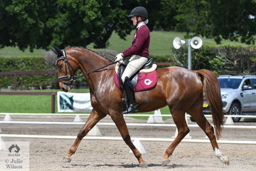 Jana Stadelmann representing Qld. rode Remi Lambrusco to second place in Event 1 of the Elementary Dressage.