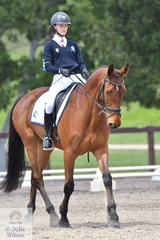 Monon Schey from Victoria rode Northern Farrington in Event 1 of the Elementary Dressage.