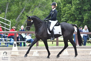 Kayley Brahim from WA rode Master Delight in Event 1 of the Elementary Dressage.