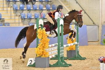 Olivia Hewitt-Toms from Qld. rode Gypsie to second place in the Sub Junior Showjumping Event 1.