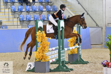 Victorian, Keira Gibbs rode Twins River Jacquimo to fourth place in the Sub Junior Showjumping Event 1.