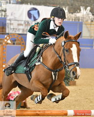 Sharna Dolbey representing Tasmania, rode Everybody Tango to third place in the Sub Junior Showjumping Event 1.