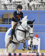 Tayla Norley from NSW riding Luck In Toyland took out fifth place in the Sub Junior Showjumping Event 1.
